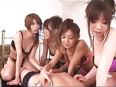 Four girls use the guy for pleasure tubes