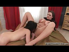 Two girls with shaved pussies using toys tubes