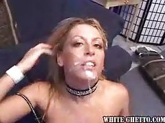 Multiple guys tag her ass and mouth tubes