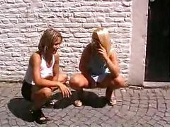 Outdoor threesome with two sexy blondes tubes