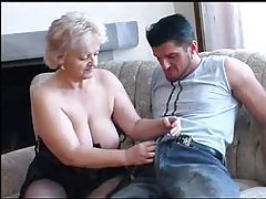 Chubby granny in black stockings nailed tubes
