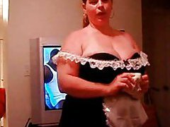 BBW shows off French maid outfit and sucks cock tubes