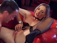 Slender babe in a strip club fucked by customer tubes