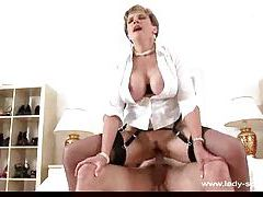 Stockings milf giving head and sitting on dick tubes