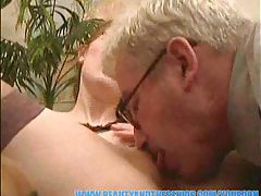 Old chubby dude gets head and screws girl tubes