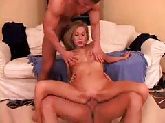 She goes home with two guys for threesome tubes