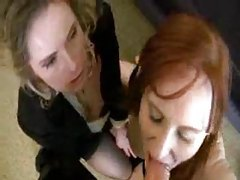 Two older babes have threesome in motel room tubes