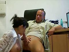 Busty secretary in stockings fucked tube