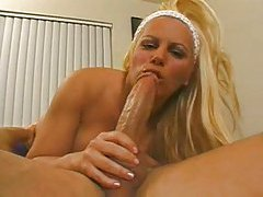 Blonde with big tits giving a great POV blowjob tubes