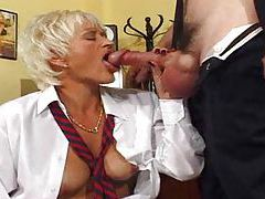 Secretary gives up her pussy to the boss tube