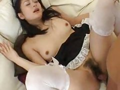 Japanese maid fucked in her hairy pussy tubes