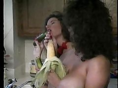 Big titty girls preparing food and playing tubes