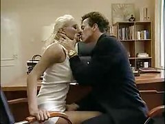 Blonde in glasses sucks dick in the office tubes