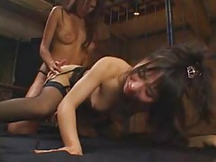Japanese lesbian strapon doggy style sex tubes