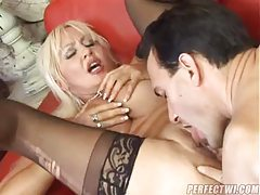Blonde in stockings fucked in her tight pussy tubes
