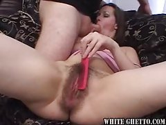 Brushing the pussy hair and then fucking her tubes