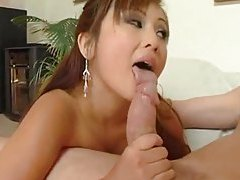 Cute Asian girl taking a big white cock tubes