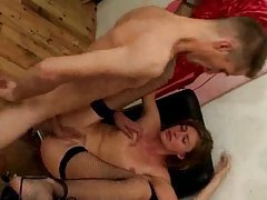 Tempting action with a slut in stockings tubes