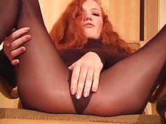 Hot redhead in pantyhose wants you to jerk off tubes