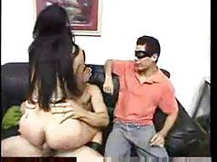 Masked chick trying out anal sex tubes