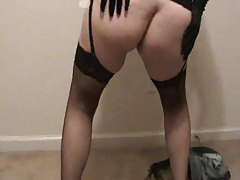 BBW stripping from her hot black lingerie tubes