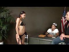 Sexy Latina puts on a hot black bikini tubes