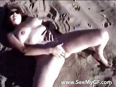 Amateur on the beach fingering pussy tubes