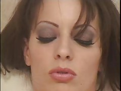 Pretty girl puts on leather lingerie to fuck tubes