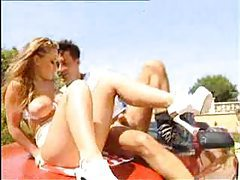 Italian girl fucked by two outdoors tubes