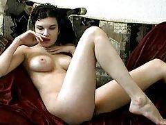 Striptease and modeling her hairy pussy tubes