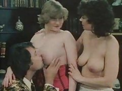 Threesome with two classic sluts in lingerie tubes