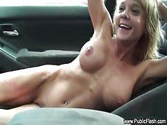 Chick naked as car goes through carwash tubes
