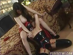 Busty girl dominates and spanks submissive tubes