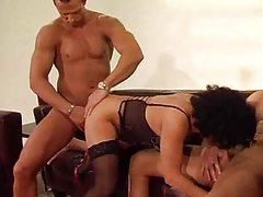 Milf lets two men fuck her body tubes