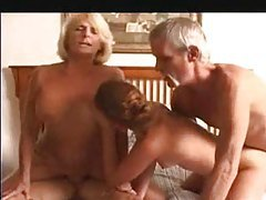 Granny and a young chick in a foursome tubes