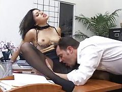 Sweet pantyhose girl in the office fucked tubes