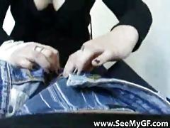 Girlfriend opens jeans and sucks him tubes