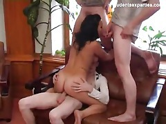 Sexy girl servicing three cocks at once tubes