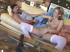 Young chick made to suck him and ride him tubes