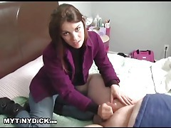 Fully dressed chick giving a small cock handjob tubes