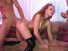Hot boot slut is double penetrated tubes