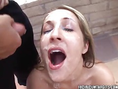 Several dudes blow their loads on her face tubes