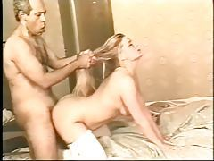 Curvy blonde in white stockings goes for BBC in cunt tubes