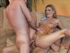 Blonde milf entertains two younger men tubes