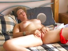 Girl strips slow and masturbates her clit tubes
