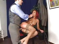 Oiled up redhead fucked in her slutty ass tubes
