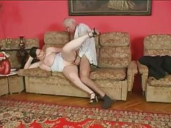 Grandpa and young fat chick have a fuck tubes