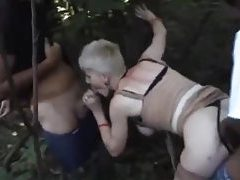 French mature gangbanged in the woods tube