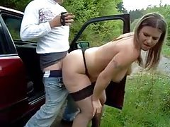 Fat bitch bent over car and fucked outdoors tubes