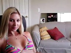 Blonde in bikini chats and humiliates tubes